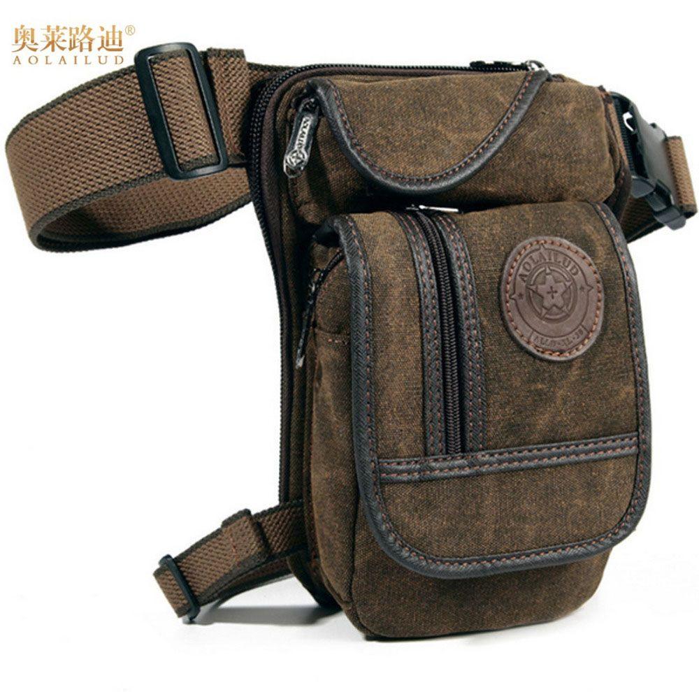 Men's Canvas Hip Belt Bum Fanny Pack Waist <font><b>Thigh</b></font> Leg Drop Bag Military Riding Motorcycle Men Crossbody Messenger Shoulder Bag