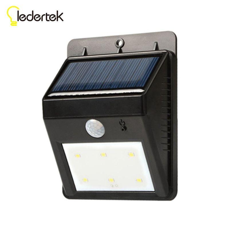 New 6 led Outdoor Solar Sensor LED Light, PIR Motion Sensor Detection Range With Dusk to Dawn Dark Sensing Auto On/Off Function