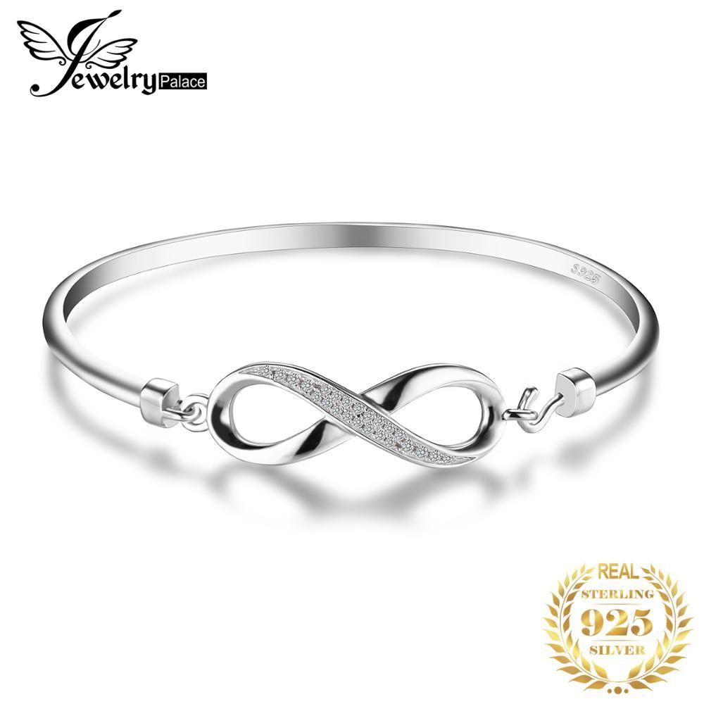 Bijoux palace Forever Love Infinity cubique zircone anniversaire Bracelet Bracelet pur 925 bijoux en argent Sterling Bracelet de mariage