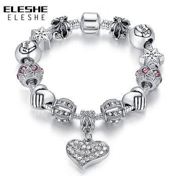 ELESHE Luxury Brand Women Bracelet 925 Unique Silver Crystal Charm Bracelet for Women DIY Beads Bracelets & Bangles Jewelry Gift