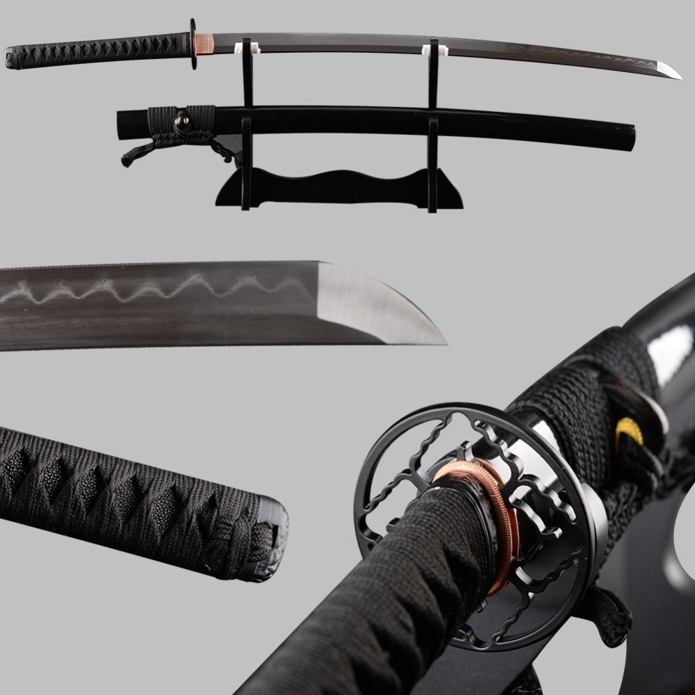 Very Sharp Japanese Samurai Sword Katana Folded Steel Clay Tempered Full Tang Espadas Vintage Decoration Samurai Cosplay Knife