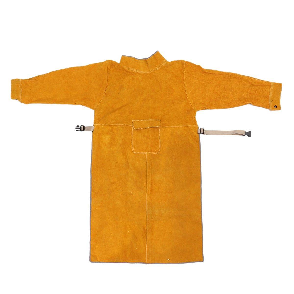 Strapazierfähigem Leder Schweiß Lange Mantel Schürze Schutzkleidung Anzug Schweißer Arbeitssicherheit Kleidung