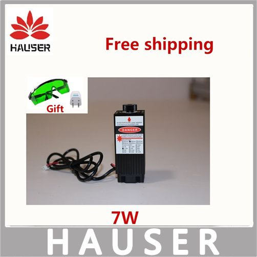 Free shipping 7000mw big power laser module,DIY laser head 7w,DIY lasers,450nm blue light,good quality laser,send glass free