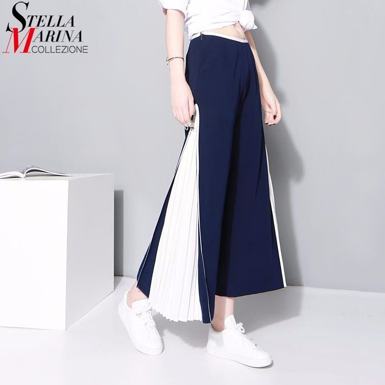 2017 Women Long Pleated Flare Pants Bell Bottoms Blue White Patchwork Elastic Waist Wide Leg Pants Casual Trousers Femme 1420