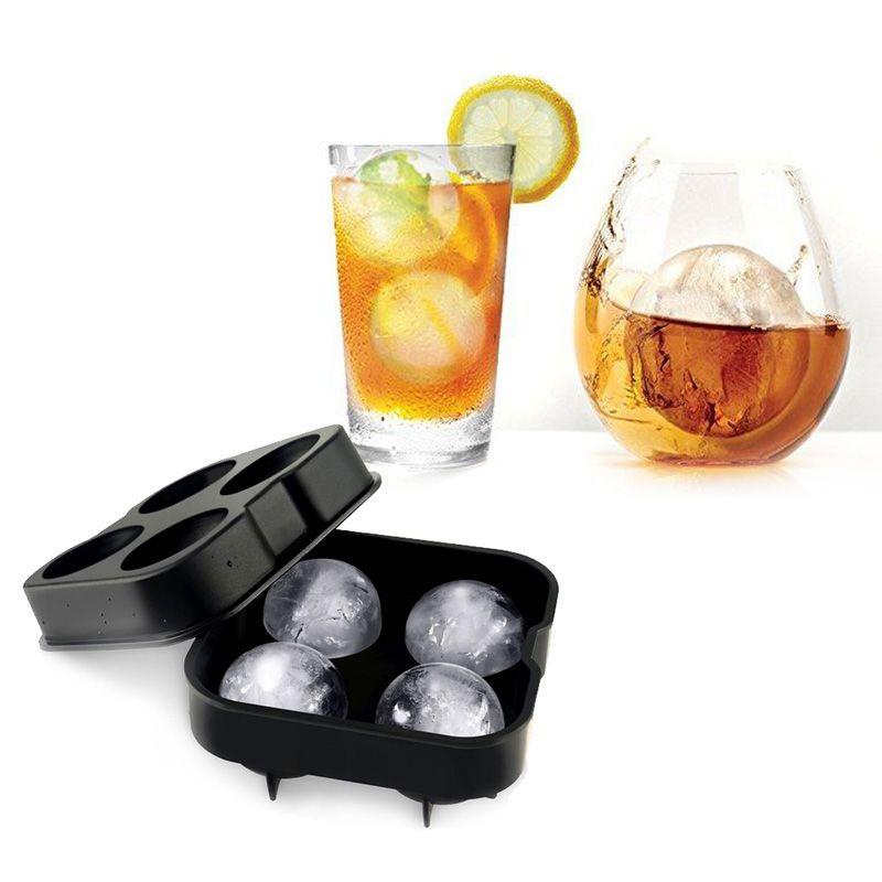 Große Größe 4 Zell Silikon Ice Ball Mold Eismaschine Eis Formen Für Whiskey Cocktail Party Bar Trinken Zubehör