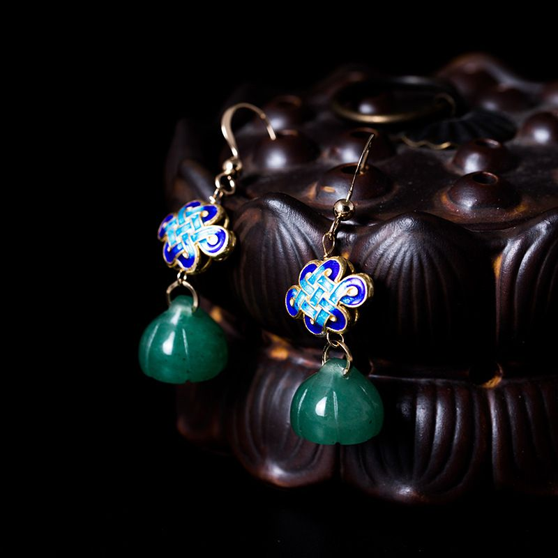 LouLeur 100% 14K gold lotus drop earrings green jade jasper ethnic 14k gold Cloisonne earrings for women jewelry for charms