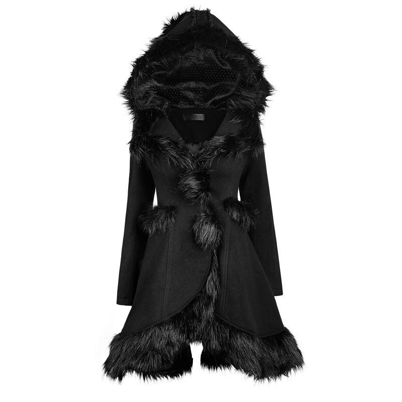 PUNK RAVE Frauen Mäntel Lolita Stil Winter Kapuze Pelz Mäntel Modische Schwarz Langarm Warme Oberbekleidung Jacken