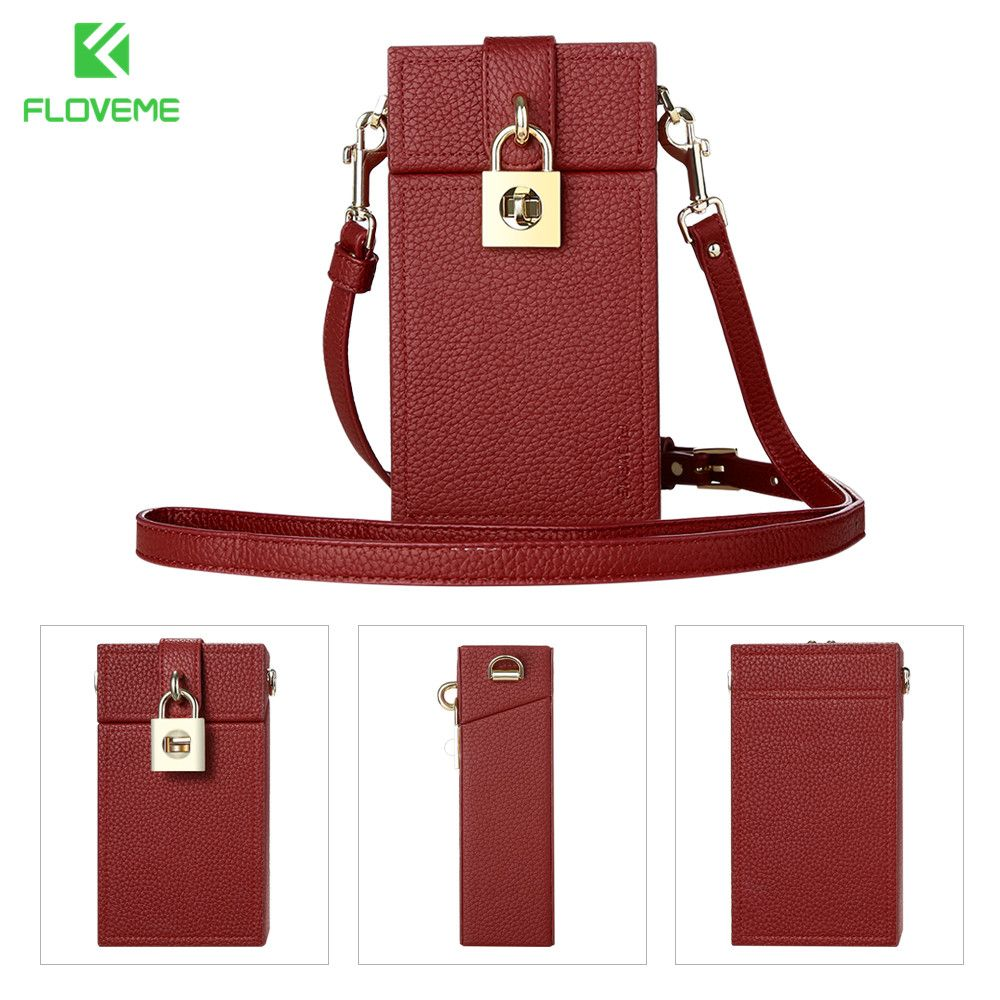 FLOVEME Universal Wallet Case For iPhone X 6 6s 7 8 Plus Cross Body Wallet Leather Bag Case For Samgsung S6 S7 S8 Cute Bag Cover