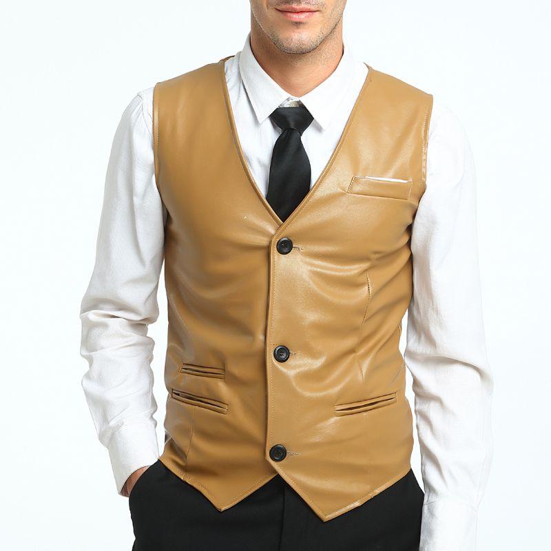 WSGYJ 2018 Nuevo Diseño Hombres Blazer Chaleco Slim Fit trajes Simple Delgada lavada PU Chalecos Chaleco de cuero Sólido de La Manera color