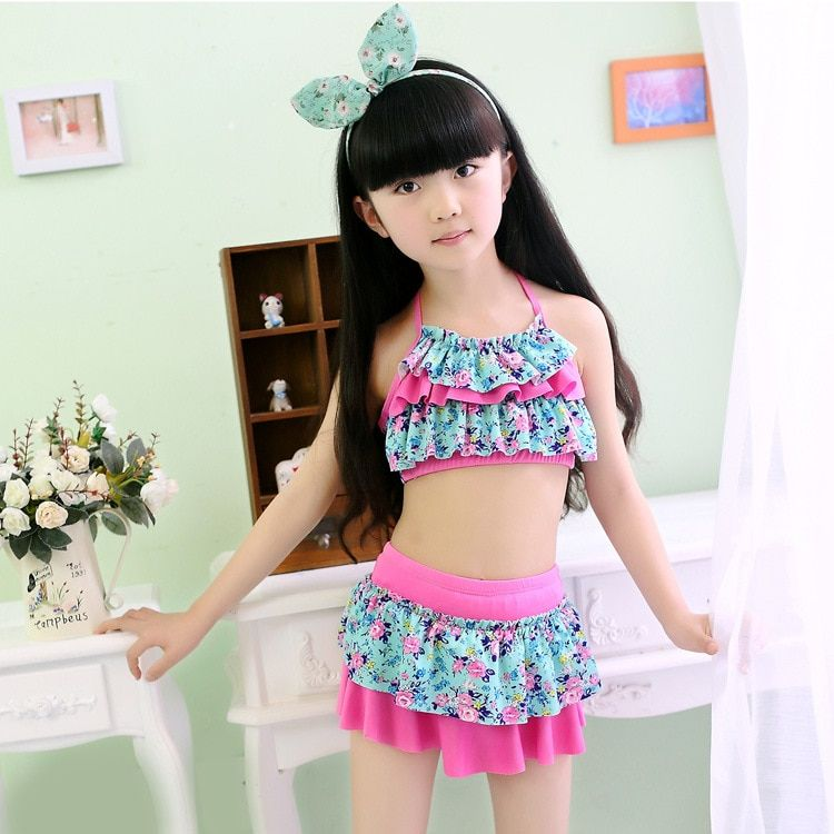 2018 new pretty Swimsuit New Summer Children Split Two-piece Swimsuit Girls Bikini Girls Beautiful Bikini Children's Swimwear