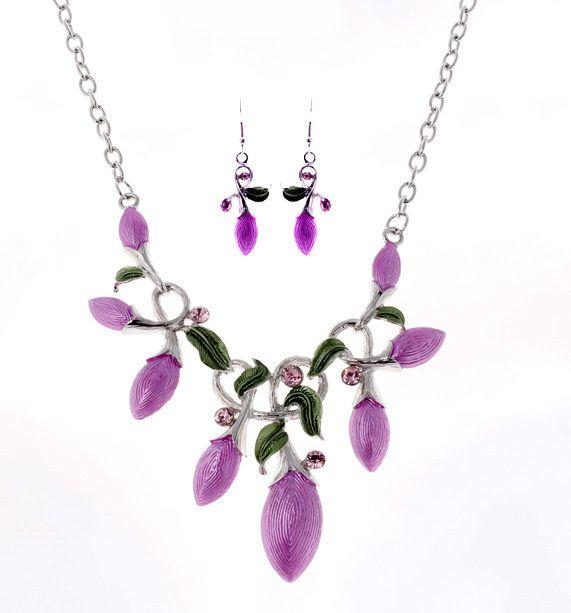 Colliers en émail strass feuilles colliers et boucles d'oreilles ensemble de bijoux de mode pour femmes en gros cadeau de fête A867