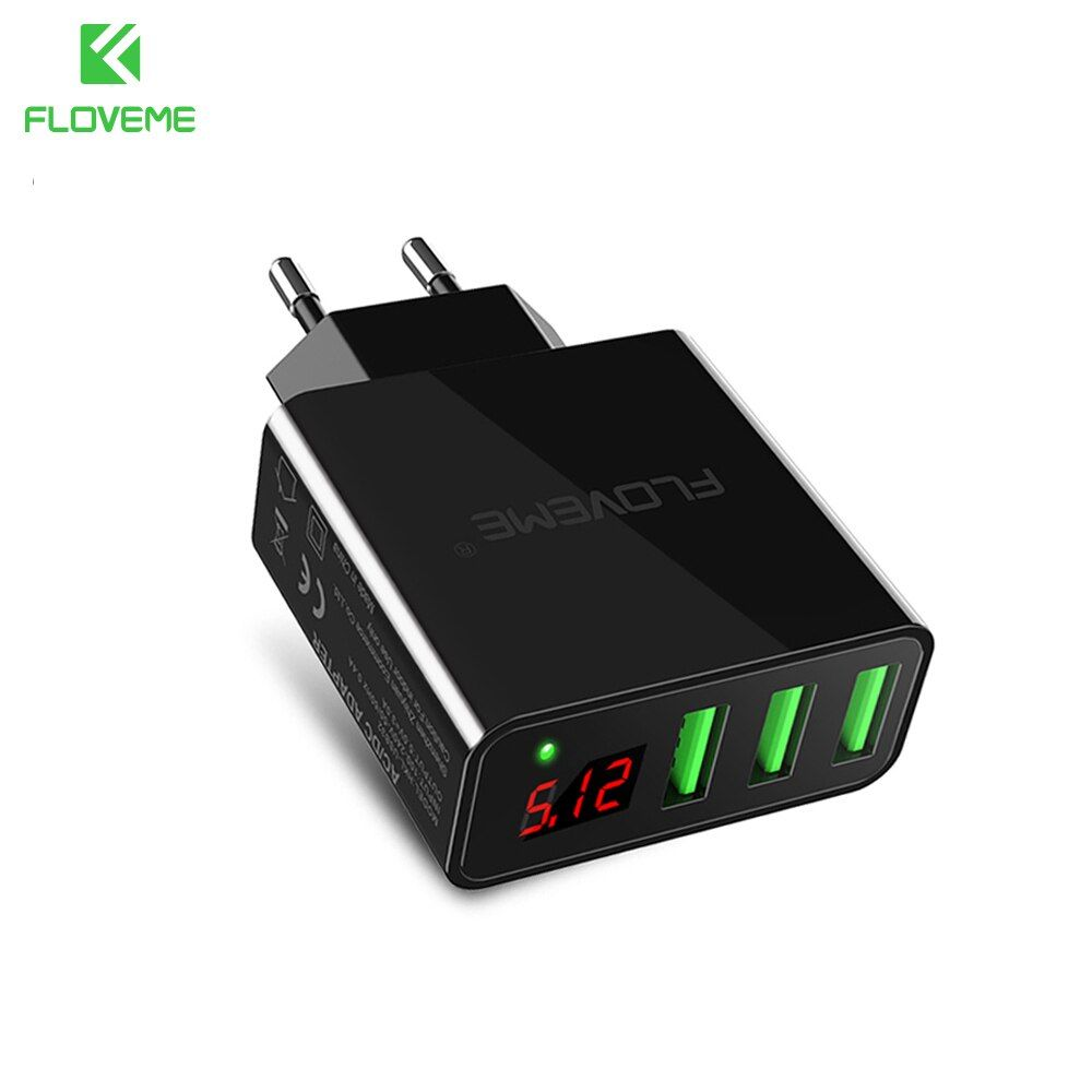 FLOVEME 3 Ports USB Charger 5V/3A LED Display Travel Wall Charger EU/US Mobile Phone Charger Adapter For iPhone Samsung CE FCC