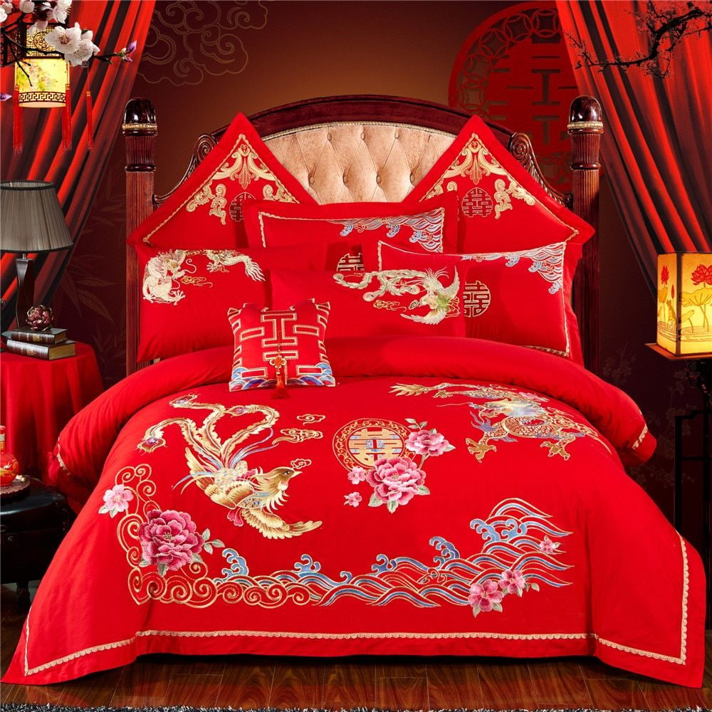 Chinese Wedding Red Bedding Set Asian Bedding with Dragon and Phoenix Bird Embroidery Duvet Cover Sets 6-Pieces 100% Cotton