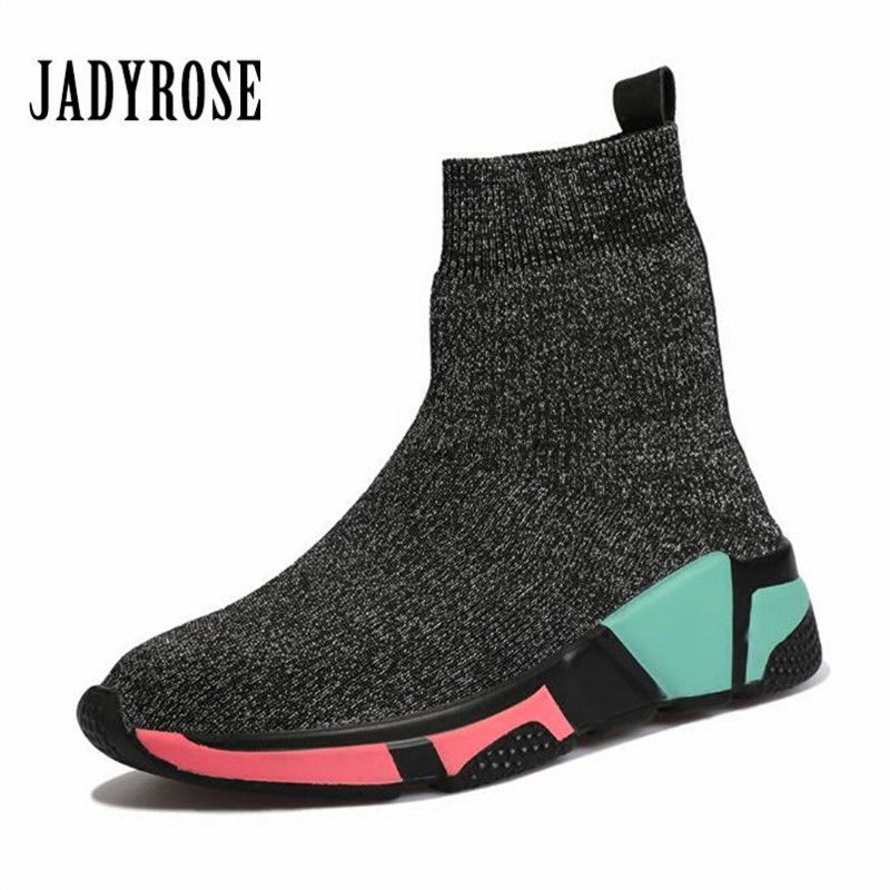 Jady Rose Elastic Women Sock Boots Winter Warm Sneakers High Tops Espadrilles Platform Creepers Female Casual Flat Shoes