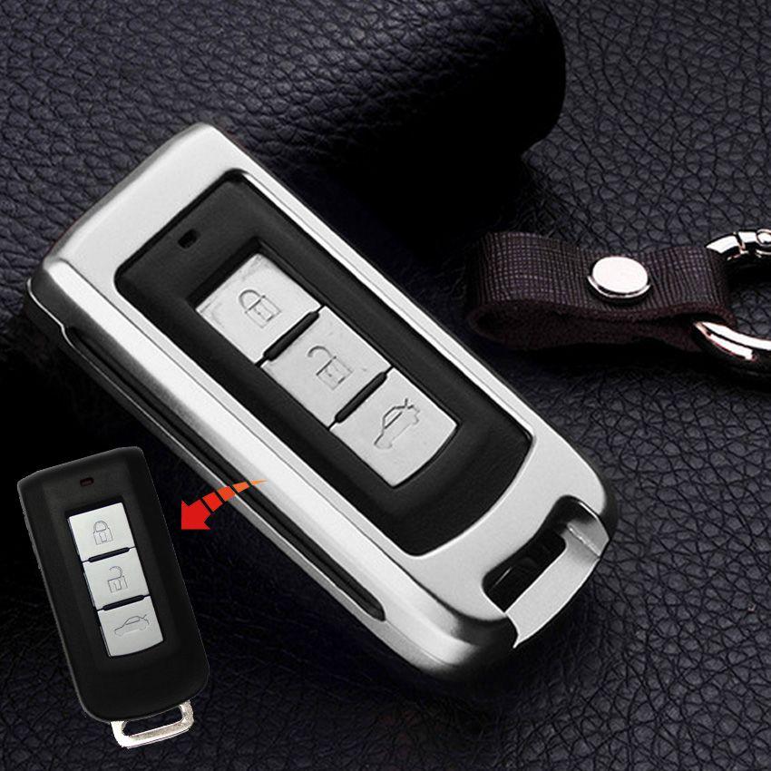 1pcs 3 Buttons Silver Aluminum Alloy Smart Remote Car Key Case Cover Protector For Mitsubishi Outlander Lancer EX ASX Pajero