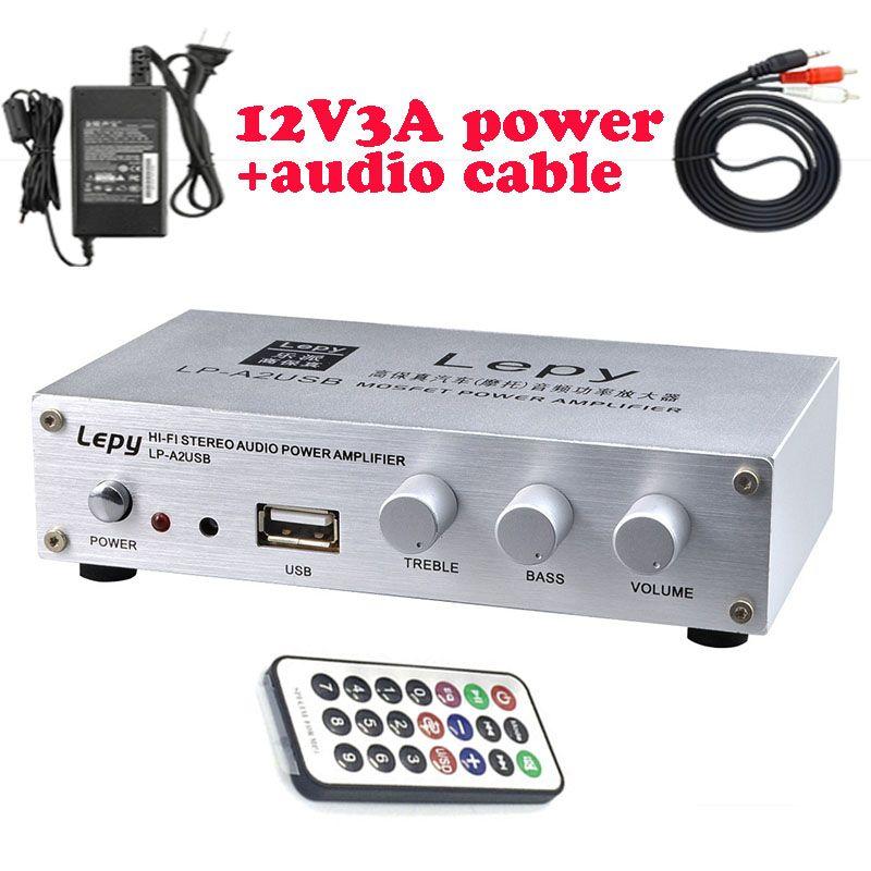 Lepy A2USB Mit 12V3A Netzteil Und Fernbedienung 2*20 Watt Hallo-fi Digital Mini Audio Stereo Hause Auto verstärker