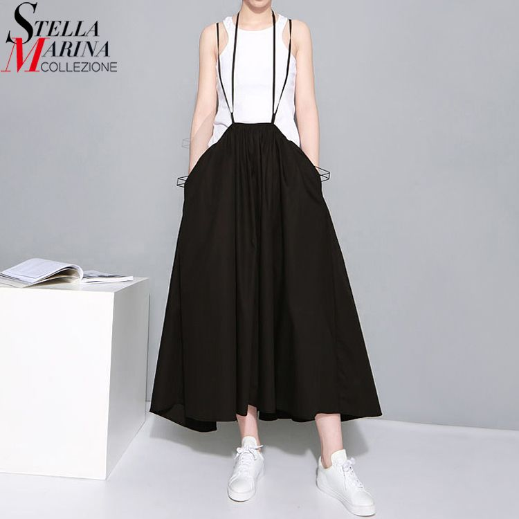 2018 Summer Women Black White Maxi Skirts Elastic Waist Suspenders Cotton Pleated Skirt Mid Calf Length Loose Casual Skirts 1388