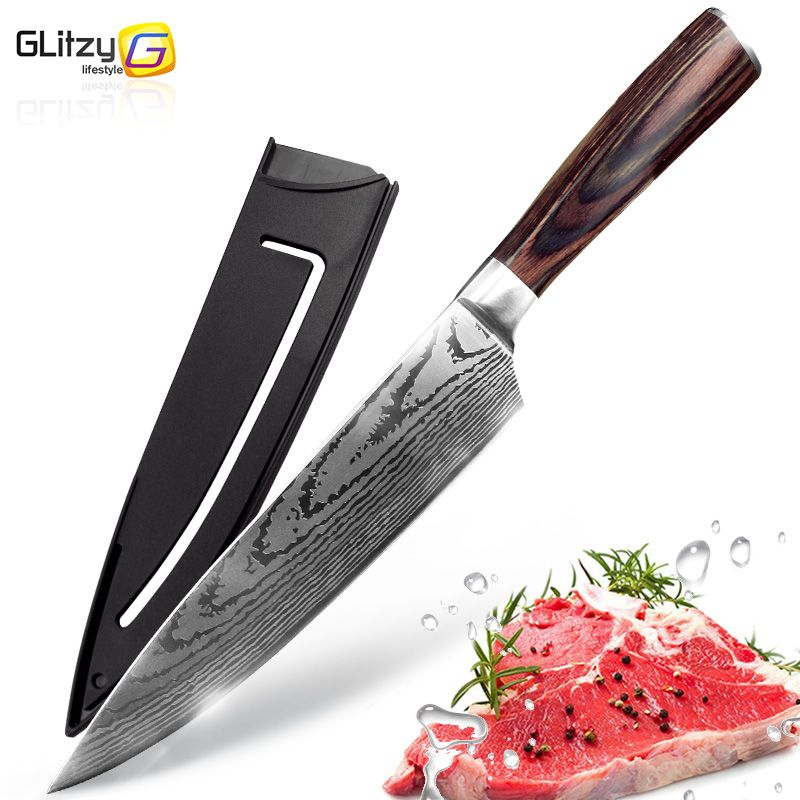 Couteau de cuisine 8 pouces Chef couteaux 7CR17 440C haute teneur en carbone japonais acier inoxydable imité damas ponçage Laser motif Santoku