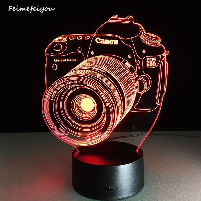 Le nouveau lampada LED caméra de divertissement lampe 3D LED atmosphère colorée télécommande vision lampe stéréo lampe acrylique personnalisée
