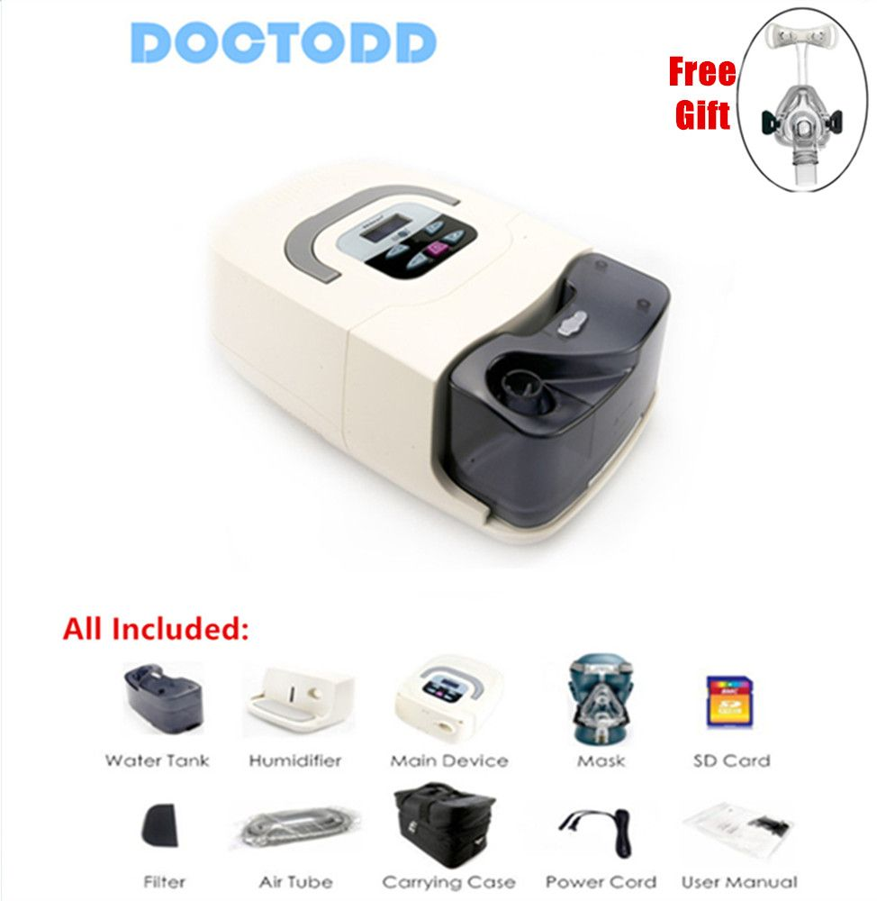 Doctodd GI CPAP Home Medical Portable CPAP Machine for Sleep Apnea OSAHS OSAS Snoring People W/ Mask Headgear Tube Bag SD Card