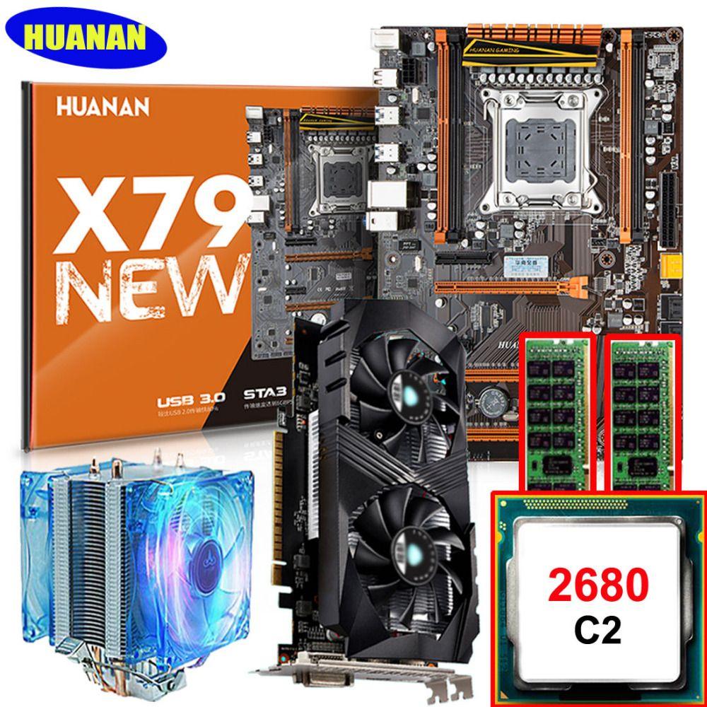 HUANAN deluxe X79 MOTHERBOARD-FREIES CPU Xeon E5 2680 2,7 GHz mit CPU kühler RAM 32G (2*16G) DDR3 RECC grafikkarte GTX1050Ti 4G 7,1 sound