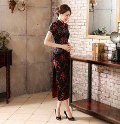 Noir rouge chinois robe traditionnelle de soie féminine Satin Cheongsam Qipao été courtes manches longues robe fleur sml XL XXLNC039