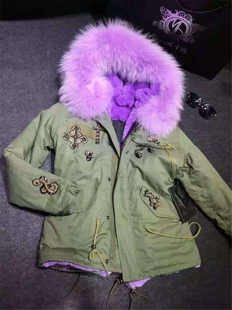 Large real raccoon fur collar coats Mr mrs furs parka beading design lavender faux fur lined jacket