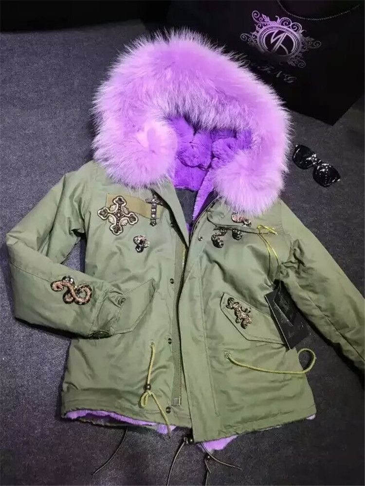 Large real raccoon fur collar coats Mr mrs furs parka beading design lavender faux fur lined jacket
