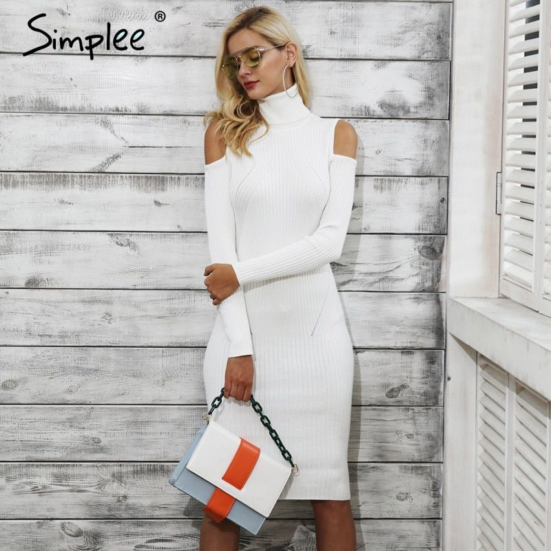 Simplee Cold shoulder turtleneck knitting winter dress women Casual pull femme knitted dress Autumn wine red party dress female