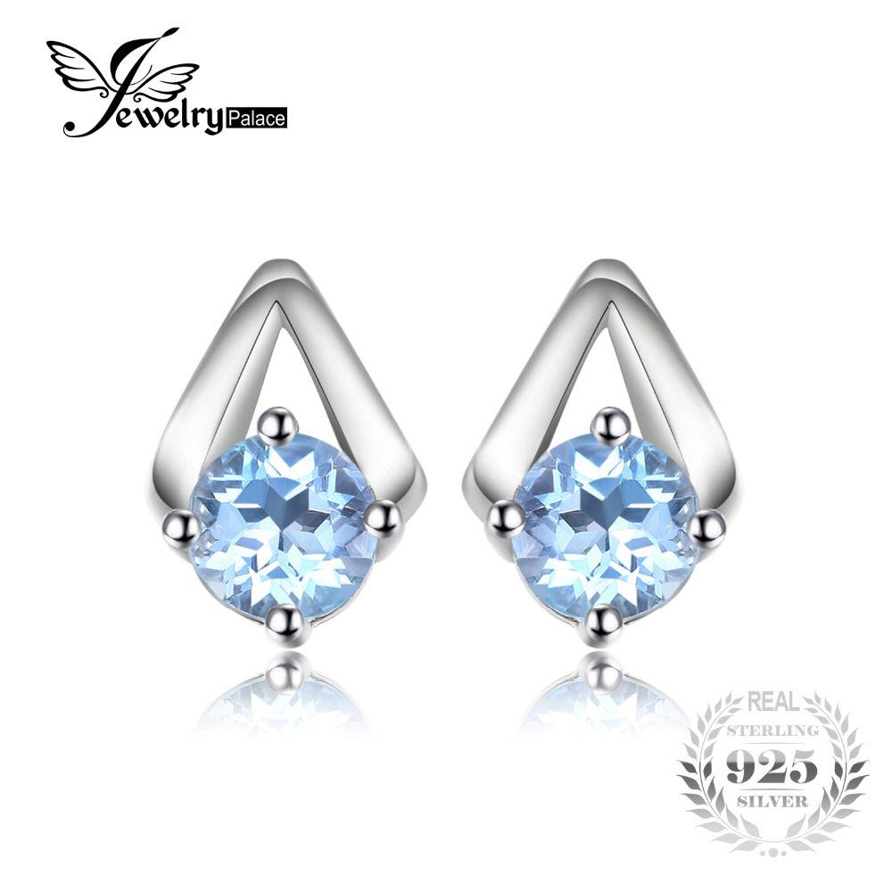 JewelryPalace 1.2ct Ronda Sky Natural Topacio Azul Aretes de 100% Real 925 Plata Esterlina 2017 Joyería Fina Para Las Mujeres de Moda