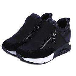 2018 Berjalan Mendaki Tebal Bawah Platform Wedges Wanita Sepatu olahraga Sneakers Musim Gugur Musim Semi Fashion Wanita hitam sepatu siswa