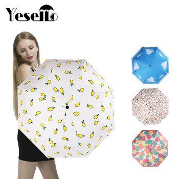 Yesello Lemon Sky Folding Pencil Umbrella Ultra-thin Light Leaves Umbrella Rain Women Umbrella Carton Lady Sun Rain Gear Parasol