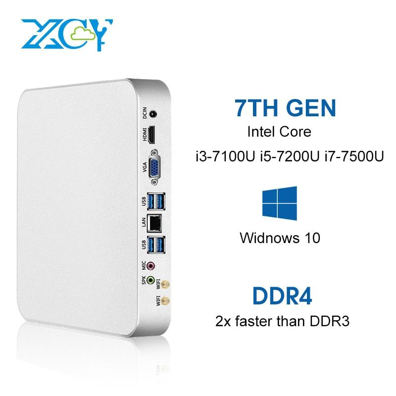XCY X26 Mini PC Intel Core i7 7500U i5 7200U i3 7100U 8 gb DDR4 240 gb SSD Windows 10 Linux 4 karat UHD HTPC HDMI VGA 300 mt WiFi