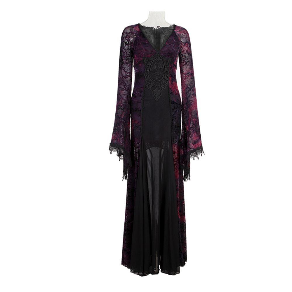 Gothic Flocking Long Dress Deep V Neck Lace Trimming Party Dress Tight Dark Violet Slinky Dress Clubwear Maxi Dress