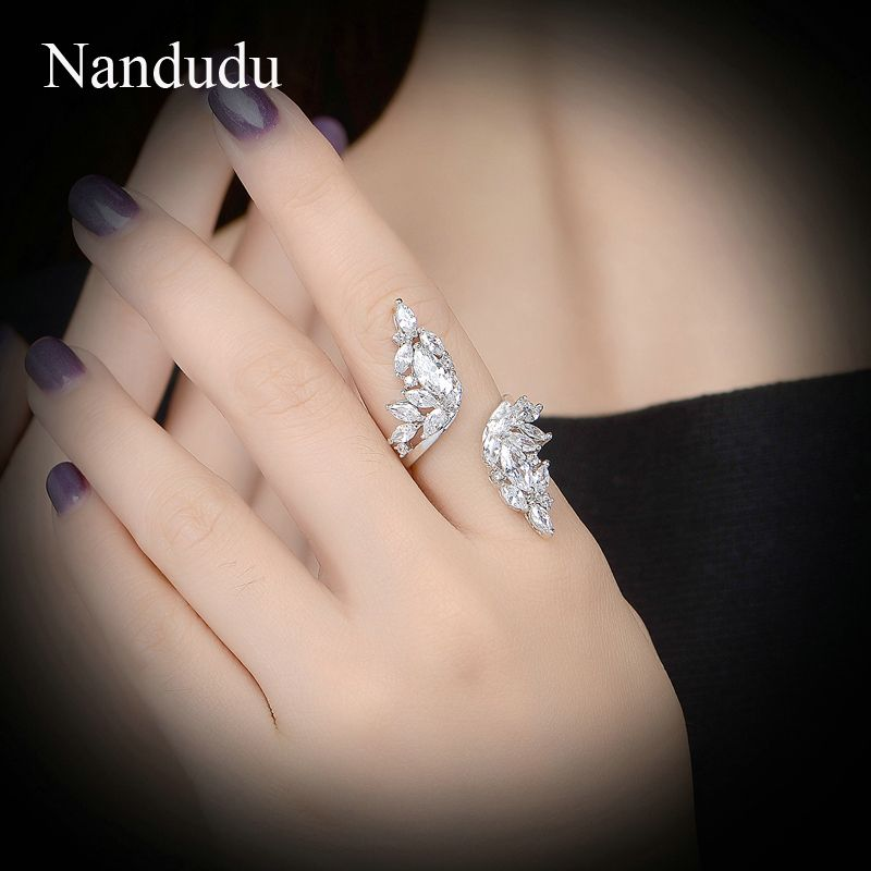 Nandudu Ange aile cocktail anneau AAA zircon cluster bagues de mariage de mode femmes bijoux cadeau R975