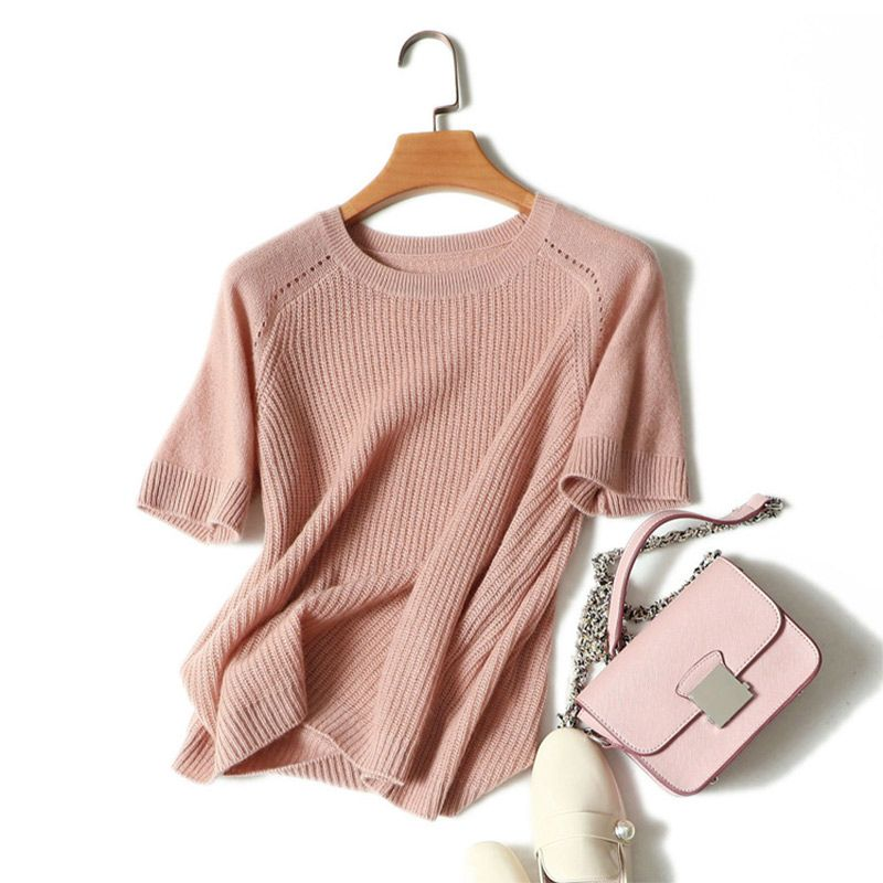 Women's 100% Pure Cashmere Short Sleeve Sweater 2018 Spring New High Quality Korean Knitwear Pink Ribbed Sweater Pull Women Tops