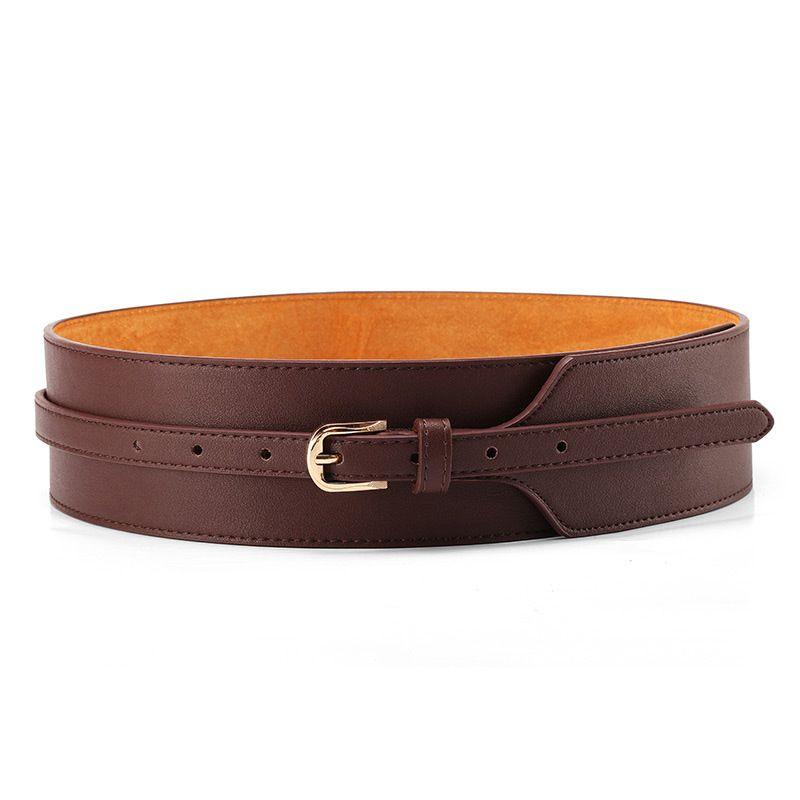 Femmes robe ceinture, mode manteau en cuir ceinture pour les femmes, boucle ardillon en cuir de vachette femmes ceintures, mi-taille large ceinture