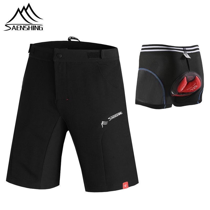 SAENSHING Shorts de cyclisme hommes + Gel Pad sous-vêtements de cyclisme rembourré vtt VTT Shorts vélo descente Bermuda respirant