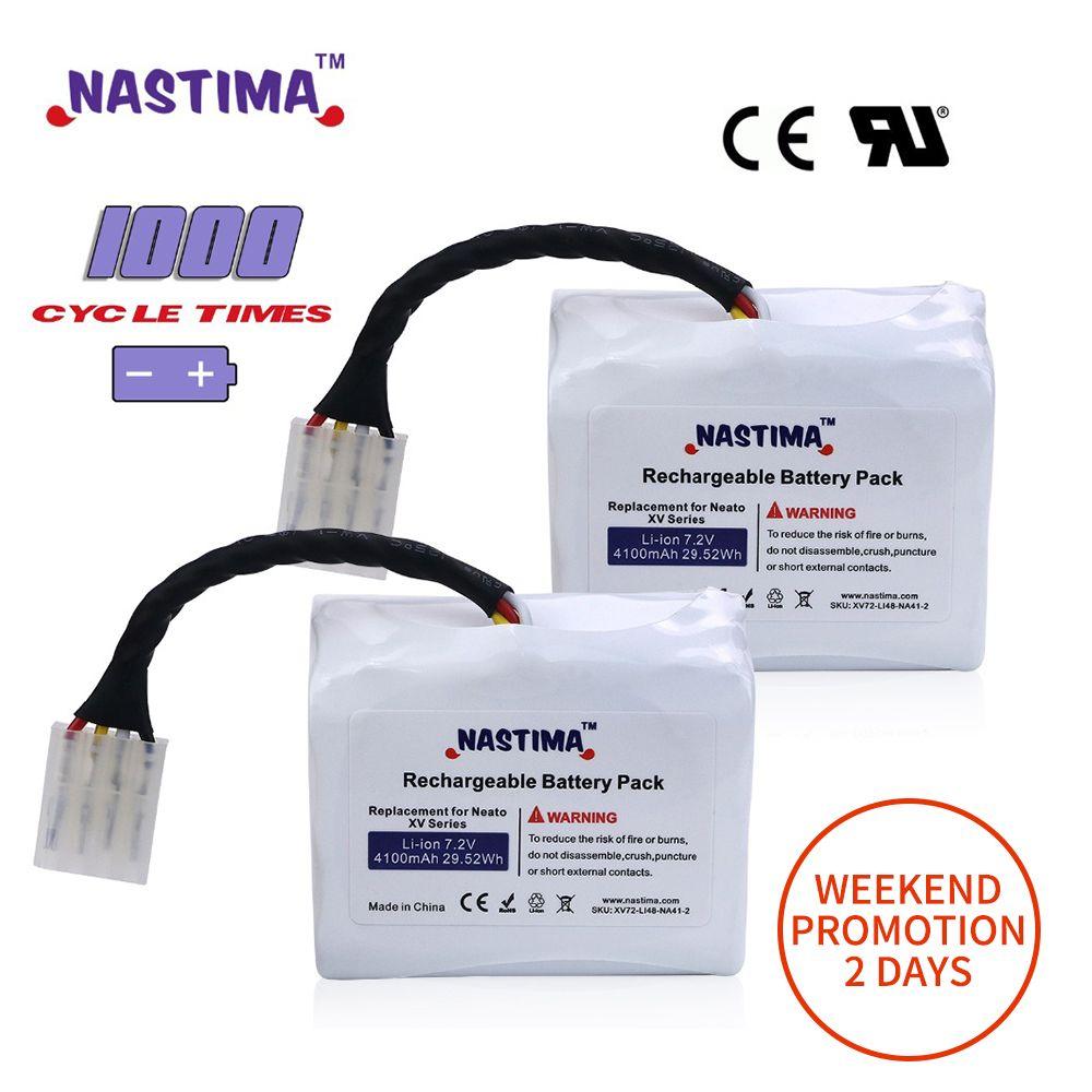 7.2 V 4100 mAh 2 pièces batterie li-ion Pour Neato XV batterie XV11 XV12 XV14 XV15 XV21 XV25 XV Essentiel XV pro Robotique aspirateur