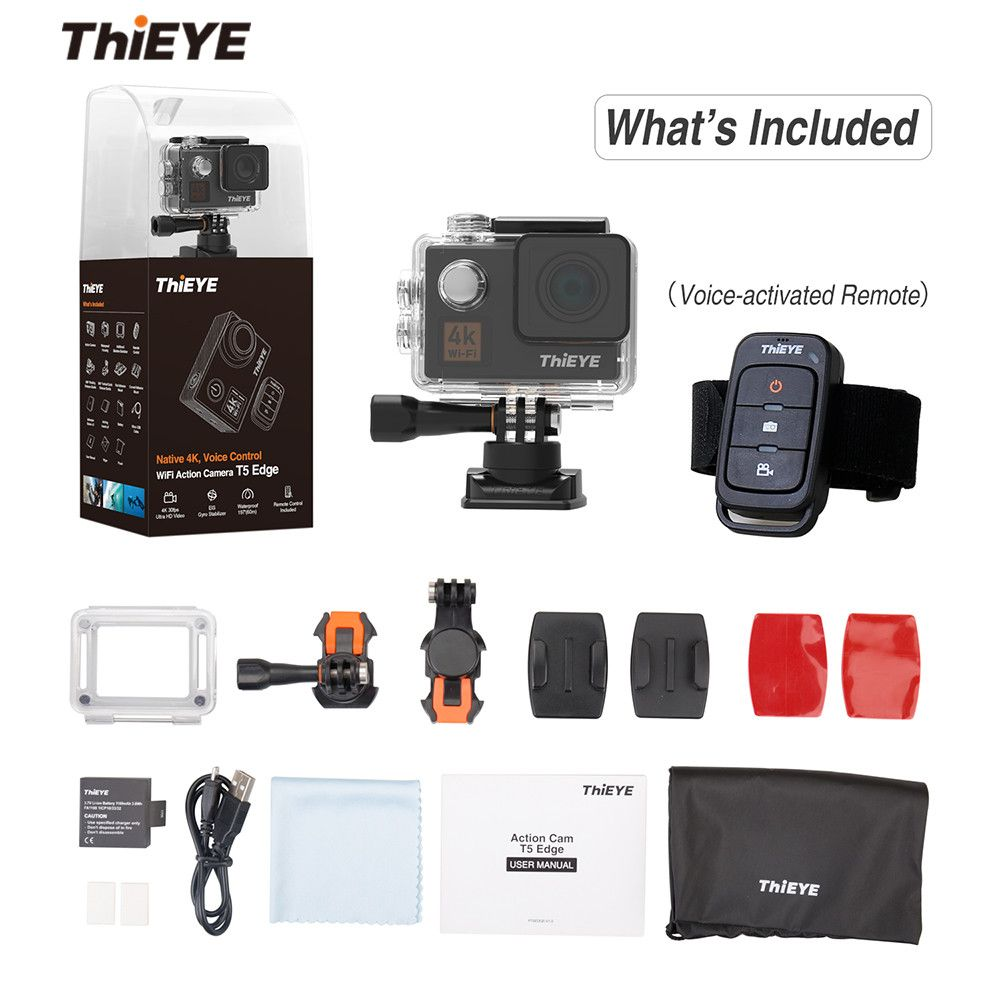 ThiEYE T5 Edge With Live Stream WiFi Action Camera Real 4K Ultra HD Sport Cam with EIS Voice Control 60M Waterproof Sport Cam
