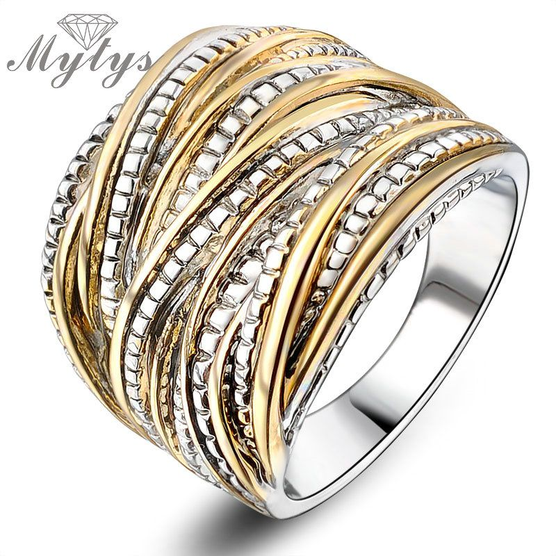Mytys 2018 Fashion Chunky Rings for Women Party Rock Rings GP Free shipping Vintage Jewelry Retro Ring R1643