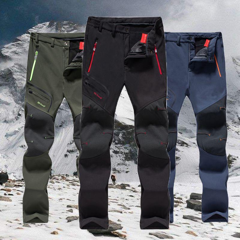 Camping Trekking Hiking Climbing Skiing Fishing Winter Waterproof Pants Men Fleece Outdoor Softshell Trousers Dropshipping