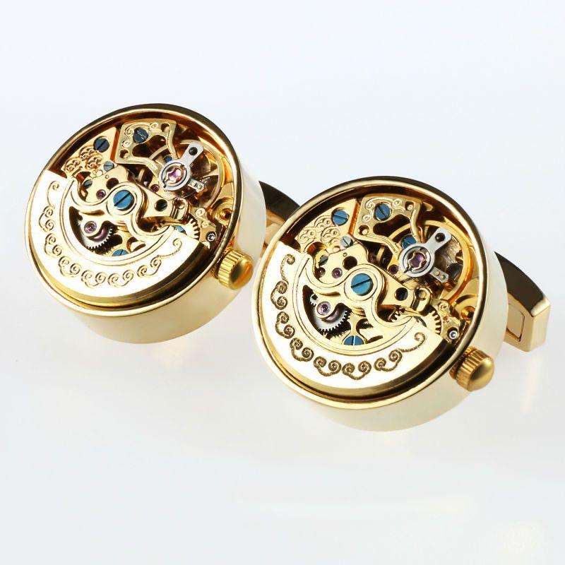 Men Business Watch Movement Cufflinks of movable Lepton Steampunk Gear Watch Mechanism Cuff links for Mens Relojes gemelos