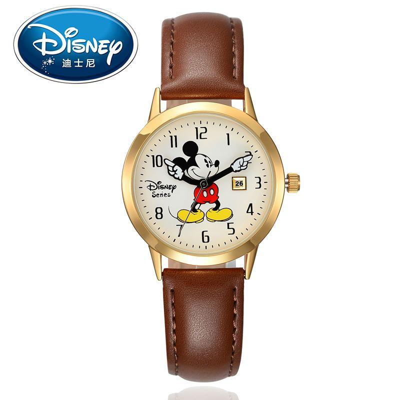 Disney дети смотрят дети Часы Подлинная Марка Роскошные часы Микки Повседневное модные милые Кварцевые наручные часы кожа