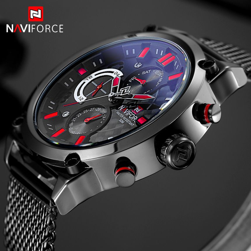 Top Brand NAVIFORCE Fashion Casual Quartz Watch Men's 30M Waterproof Sport Watches Men Stainless Steel Mesh Band 24 Hour Clock