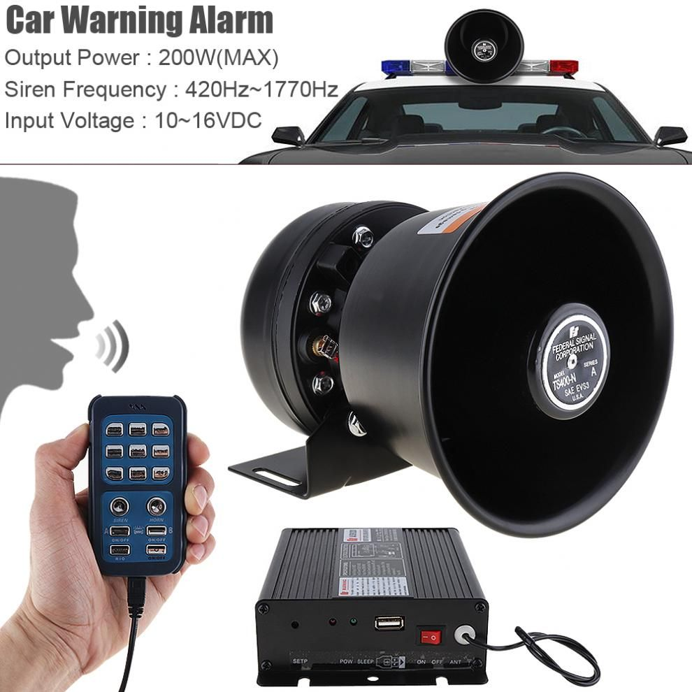 Universal 12V 200W 18 Tone Loud Car Warning Alarm Police Siren Horn Speaker with MIC System & Wireless Remote Control