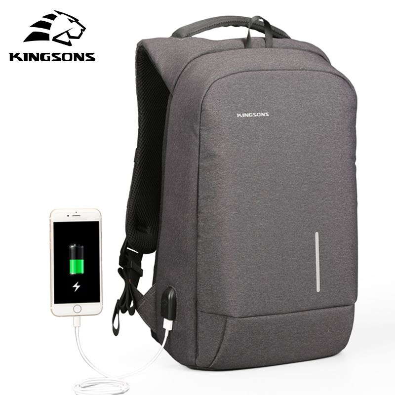 Kingsons USB Charge Anti Theft Men Backpack 15.6'' Laptop Backpack Large <font><b>Capacity</b></font> Casual Waterproof Bag women 13''backpack