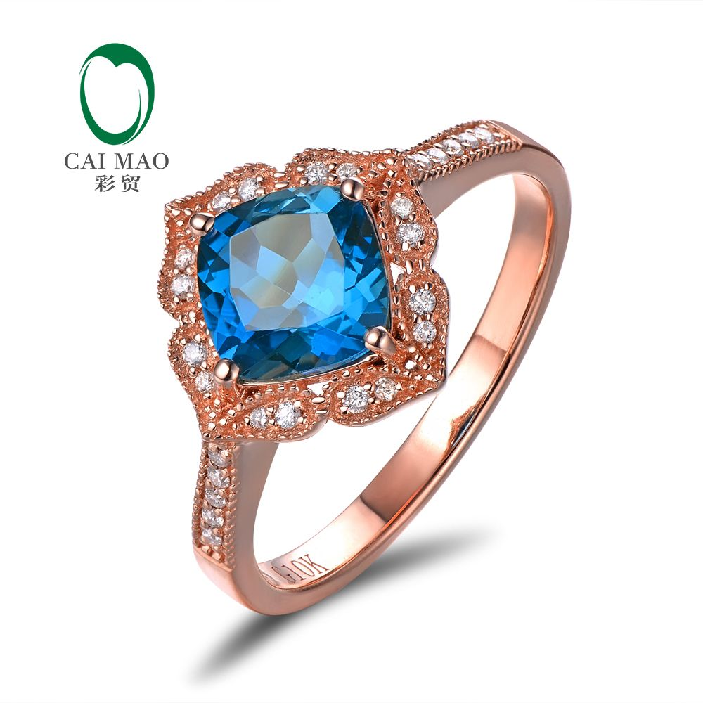 Caimao Jewelry 14kt Rose Gold 1.92ct Blue Topaz & 0.14ct Natural Diamond Milgrain Engagement Ring
