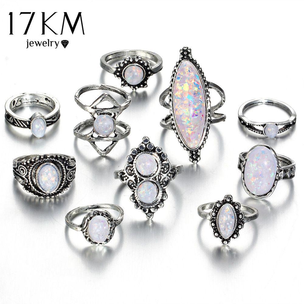 17 KM Vintage Großen Natürlichen Opal Stein Knuckle Schild Ringe Set Für Frauen Böhmischen Antikes Silber Farbe Ringe Modeschmuck geschenke