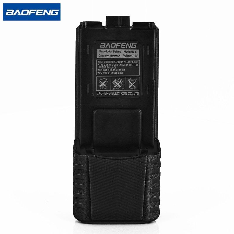 Baofeng UV-5R Black  BL-5 external Battery 3800mAh 7.4V Li ion Battery Rechargeable Battery for UV-5R BF-F8 Walkie Talkie Radio
